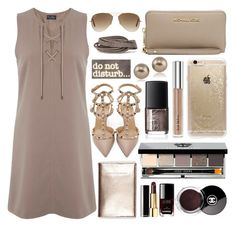 """""""Lace-up dress"""" by marincounty ❤ liked on Polyvore featuring мода, Valentino, Miss Selfridge, Bobbi Brown Cosmetics, Rifle Paper Co, Chanel, Ray-Ban, MICHAEL Michael Kors, Pieces и Carolee"""