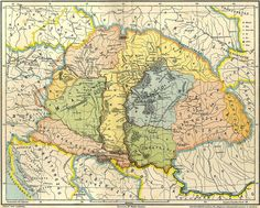 A map which depicts the Carpathian Basin on the eve of the Hungarian Conquest taking into account the narration of the Gesta Hungarorum