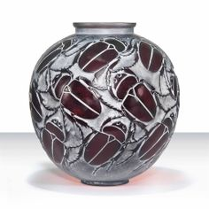 GROS SCARABÉES VASE, NO. 892 designed 1923, deep amber and white stained, moulded R. LALIQUE and engraved R. Lalique