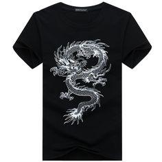 368b850fcd51 binyuxd New dragon Pure cotton Short Sleeves Hip hop Fashion Mens T-Shirt  O-Neck Summer Personality Fashion men t-shirts Dragon