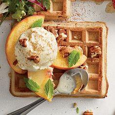 Peaches and Cream Waffle | MyRecipes.com