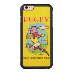 Rugby - iPhone Case. Bumper Maple Wood iPhone 6 Plus Case. One for the rugby enthusiast  Also available for other iPhones. Vintage French rugby. http://www.zazzle.com/rugby_iphone_case-256600018696290424 #rugby #sport #iPhone6 #iPhone #case
