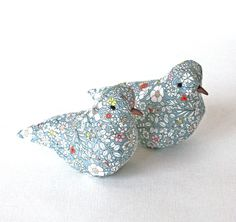 Lavender decorative bird made with Liberty Junes Meadow fabric, free P&P UK £12.00