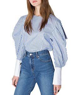 acbc6867 haoduoyi Women's Fashion Sweet Long Sleeve Stripe Slim Sh... https://