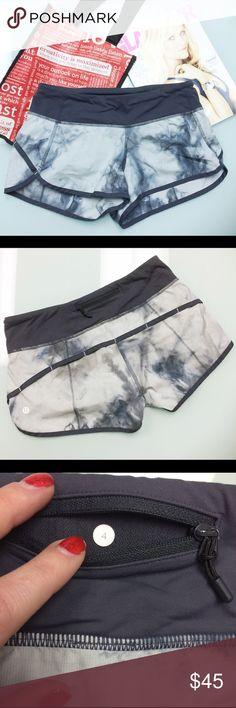 Lululemon Coal Spray Dye Speed Shorts Lululemon Speed Shorts Coal Spray Dye. Size 4. Two interior keep pockets (front waistband) and one rear zipper pocket. Reflective logo on left hip and signature zipper pull. lululemon athletica Shorts