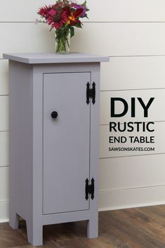 Add rustic-style storage to your home with this easy-to-make DIY end table. It's the perfect size to use next to a couch or chair, as a nightstand in the bedroom, or extra storage in the bathroom or kitchen. The enclosed storage area keeps clutter hidden out of sight. Download the free, easy-to-follow plans and build one (or two!) today. #sawsonskates