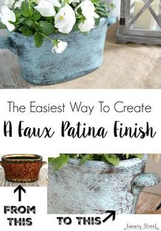 THIS ON LARGE SILVER POT. LIKELY DO ON PEELING POTS  The easiest way to create a faux patina finish. Modern Masters metal effect patina paint makes it easy to create a faux patina finish.
