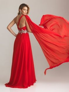 Red A-Line One Shoulder Floor-Length Chiffon Evening Dress With Rhinestone