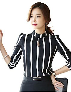 Cheap blouse shirt, Buy Quality blouse xxxl directly from China blouse bodysuits Suppliers: New Style Fashion suit Hollow Out Long Sleeve Striped Bodysuit Chiffon Blouse 2016 Plus Size Women Office Shirts And Tops Suit Fashion, Work Fashion, Fashion Outfits, Classy Outfits, Casual Outfits, Indian Designer Wear, Work Attire, Blouse Designs, Blouses For Women