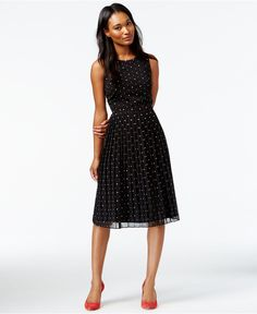 Maison Jules Dot-Print Midi A-Line Dress - Dresses - Women - Macy's