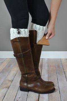 Crochet Cream Boot Cuffs | { bootcuffsocks.com }