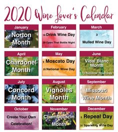 2020 Wine Lover's Calendar | MO Wine Tasting Room, Wine Tasting, Wine Education, Mulled Wine, Important Dates, Wine Gifts, Wine Drinks, Wine Country