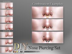 4 different nose piercings for the left or right nostril, + 3 septum piercings. (All in one, 11 piercings). All come in 5 colors and can be combined however you want to, or use them on their own....
