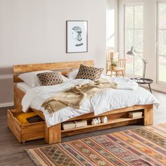 ... bed EosWOOD (inclusief 4 bedlades) - massief eikenhout - 180 x