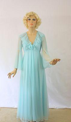 Vintage 60s Peignoir Set Sheer Double Chiffon Long by jantiques, $110.00
