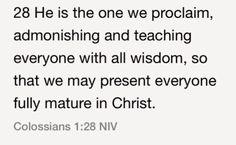 Colossians 1:28 (NIV)