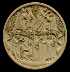 Reverso de un espejo,tallado en marfil,siglo  XIV  Museo del Louvre