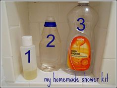 Our New Shower, and My Homemade Shower Products « Simple Organized Living. Home made shampoo, cleanser and hair rinse