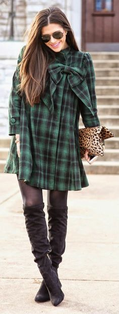 DOLLY DOLLY - Green Tartan Dolly Dress with Big Bow and Black Over The Knee Boots / The Sweetest Thing