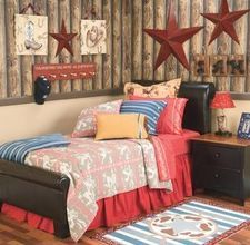 love, love, LOVE the log cabin feel on the top half of the room!