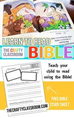Beautiful Learn to Read Bible, just right for children who are starting to blend sounds.  Free Bible Study worksheet & Tips from The Crafty Classroom