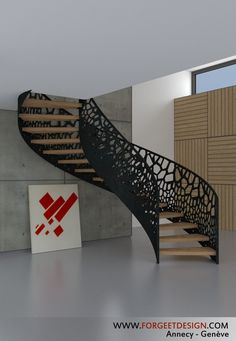 56 Best Contemporary Stairs Idea For Modern And Fancy Houses Contemporary Stairs, Modern Stairs, Contemporary Decor, Interior Stairs, Interior Architecture, Interior Design, Railing Design, Staircase Design, Staircase Railings