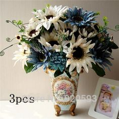 europäische bouquet künstliche sonnenblumen seidenblumen fake-Blatt-Hochzeits-Ausgangspartei-Dekoration