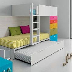 Train bunk bed with white trundle bed combined with cheerful colors Childrens Bunk Beds, Bunk Beds For Boys Room, Cool Kids Bedrooms, Childrens Bedroom Furniture, Kids Room Furniture, Bed Furniture, Kid Beds, White Trundle Bed, Girls Trundle Bed