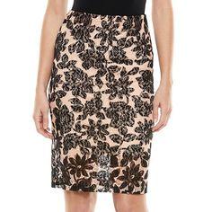 ELLE™ Lace Pencil Skirt - Women's
