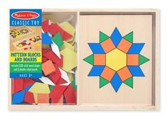 Amazon.com: Melissa & Doug Pattern Blocks and Boards - Classic Toy With 120 Solid Wood Shapes and 5 Double-Sided Panels: Melissa & Doug: Toys & Games