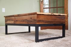 Reclaimed Barn Board Lift Top Coffee Table - Wood & Metal