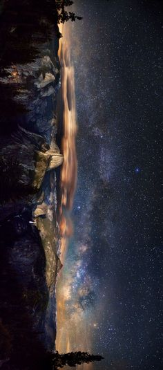 Beautiful panoramic of The Milky Way over Yosemite National Park Cosmos, Pretty Pictures, Cool Photos, Landscape Photography, Nature Photography, Exposure Photography, Ciel Nocturne, To Infinity And Beyond, Milky Way