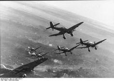 Formation of German Ju 87D Stuka dive bombers over Russia, winter of 1943-1944