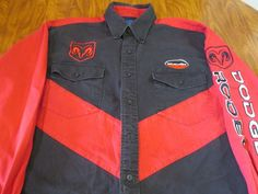 Mens Wrangler Dodge Sz L Ram Red Logo Print Western Rodeo Button Shirt Casual  #Wrangler #Western