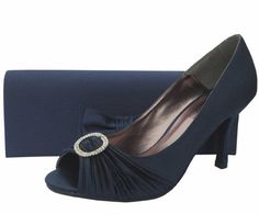 Lunar Navy Satin & Diamante Wedding Shoes  #NavyEveningShoes