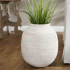 Charlton Home Cossette Ceramic Floor Vase Floor Vase Decor, Vases Decor, Bamboo Table, Bamboo Floor, Round Vase, Distressed Painting, Tall Vases, Ceramic Decor, Coastal Decor
