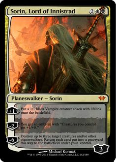 Proxies fot Magic: the Gathering Sorin, Lord of Innistrad Mtg Vampire, Magic The Gathering Planeswalker, Mtg Planeswalkers, Mtg Altered Art, Rendering Art, Fun Card Games, Writing Fantasy, Nerd Art, Magic The Gathering Cards