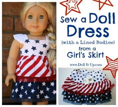 A Doll Dress {with a lined bodice} from a Girl's Skirt - Doll It Up