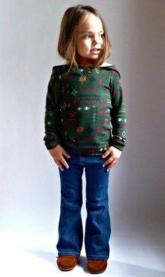 BIMAA Sweater - PDF Sewing Pattern Hoodie, Cowl Neck, or Shawl Collar Long Sleeve Top Shirt Girls Boys Toddler Children 6/12mo - 12yr