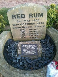 Red Rum's epitaph. He is buried beneath the winning post at Aintree