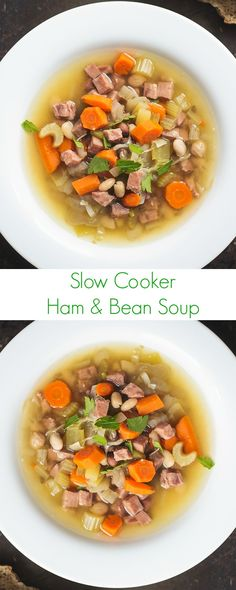 Slow Cooker Ham and Bean Soup Recipe - Easy, healthy, and the best soup you'll ever have for dinner! - The Lemon Bowl: