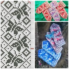"Вязание. Варежки с жаккардом - ""Зимняя радуга"" Knitting Charts, Easy Knitting, Knitting Socks, Knitting Stitches, Knitting Patterns, Crochet Patterns, Knitted Mittens Pattern, Knit Mittens, Knitted Hats"