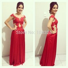 Find More Prom Dresses Information about Vestido De Festa Scoop Neckline Appliques Cap Sleeve Backless Custom Made Red Long A Line Prom Dresses 2015 New Design Hot Sale,High Quality cap socket,China dress mannequins for sale Suppliers, Cheap dresse from Rose Wedding Dress Co., Ltd on Aliexpress.com