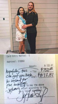 Un cameriere irlandese ha ricevuto da un cliente una mancia di 750 dollari che gli ha consentito di poter raggiungere la propria ragazza e il figlio appena nato durante il periodo di Natale.