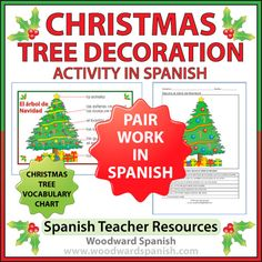 Christmas Tree Decoration Pair Work in Spanish