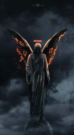 Angel from Hell : Angel from Hell Angel Artwork, Skull Artwork, Dark Fantasy Art, Dark Gothic Art, Anime Art Fantasy, Angel Demon Tattoo, Angels Tattoo, Fallen Angel Tattoo, Grim Reaper Art