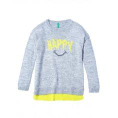 Jersey, manga larga, cuello  caja, lana mixta con diseño frontal cosido.