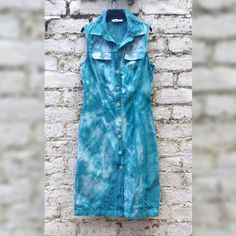Shirt Dress Teal Tie Dye Safari Style Dress to fit by AbiDashery