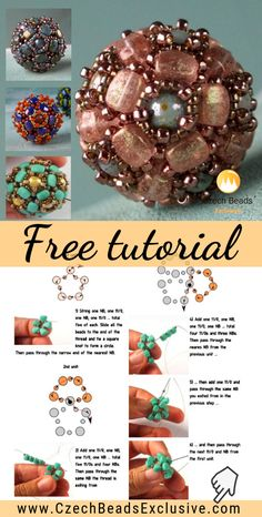 Free Tutorial – 'Sakura' Beaded Bead with Nib-Bit, Round Beads, Toho Japanese Seed Beads Kostenloses Tutorial – 'Sakura' Perlenperle mit Nib-Bit, runde Perlen, Toho japanische Rocailles Beaded Beads, Beaded Ornaments, Beads And Wire, Beading Patterns Free, Seed Bead Patterns, Beaded Jewelry Patterns, Bracelet Patterns, Beading Projects, Beading Tutorials