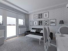 Duży salon w ciekawym i nowoczesnym stylu.